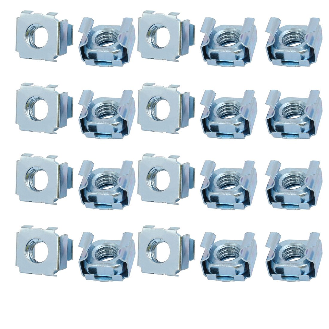 Sourcingmap® 20pcs M8 65Mn Spring Steel Captive Cage Nut Silver Tone for Server Shelf Cabinet a17092500ux0096