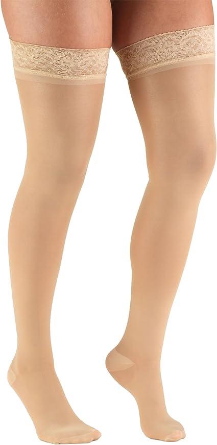 Womens Shaping Tights 20 Denier Truform Sheer Compression Pantyhose 20-30 mmHg Beige Medium