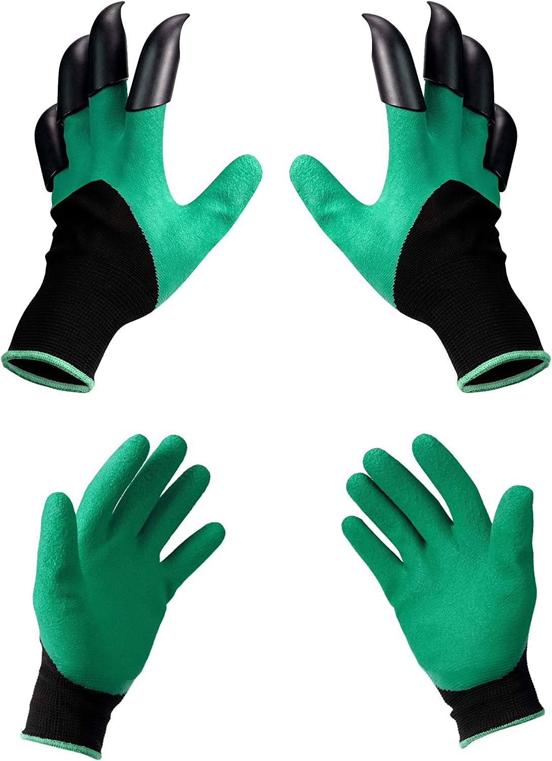 Waterproof garden gloves with claws for digging, planting, weeding, seeds, finger protection, fingernails. Best garden gift for men and women (2 pairs)