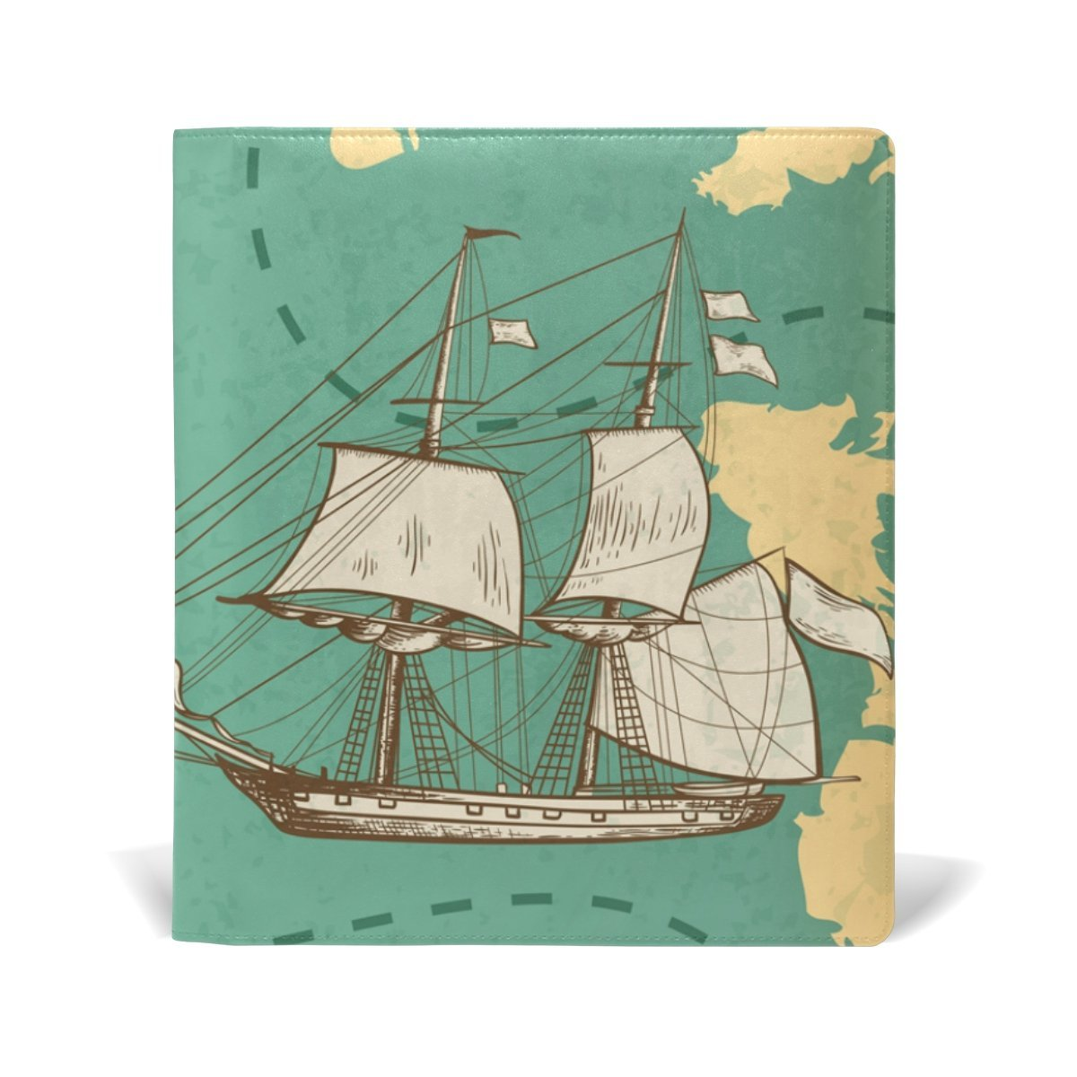 ColourLife Leather Book Covers for Textbooks Hardcovers Ancient Ocean History School Books Protector 9 x 11 Inches