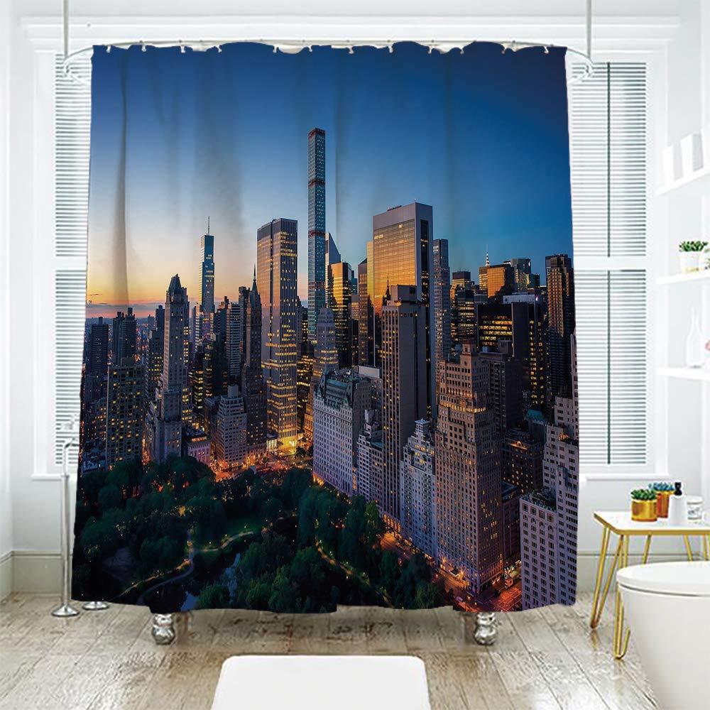 Scocici バスルームカーテン セパレーション ドア カーテン シャワー カーテン シティ ニューヨークの夜 ブルックリン橋 スカイスクレーパー 有名なメトロポリス マンハッタン USA マルチカラー 70.8インチ x 72インチ 78.7