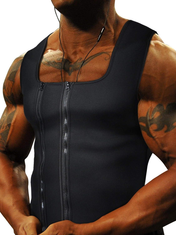 Goldenstarsport Men Waist Trainer Vests for Sweat Weight Loss Double Zipper Men Sweat Vest Sauna Tank Top Workout Shirt Neoprene Sauna Waist Trainer Vest Men