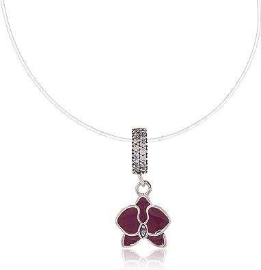 Fleur breloque avec pierre CZ transparent et fuchsia en émail argent  sterling 925 Orchidée Pendentif pour bracelets Pandora à breloques