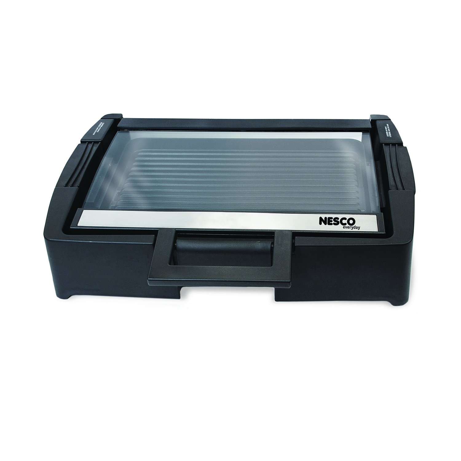 Nesco American Harvest GRG-1000 Electric Grill with Glass Lid, Black