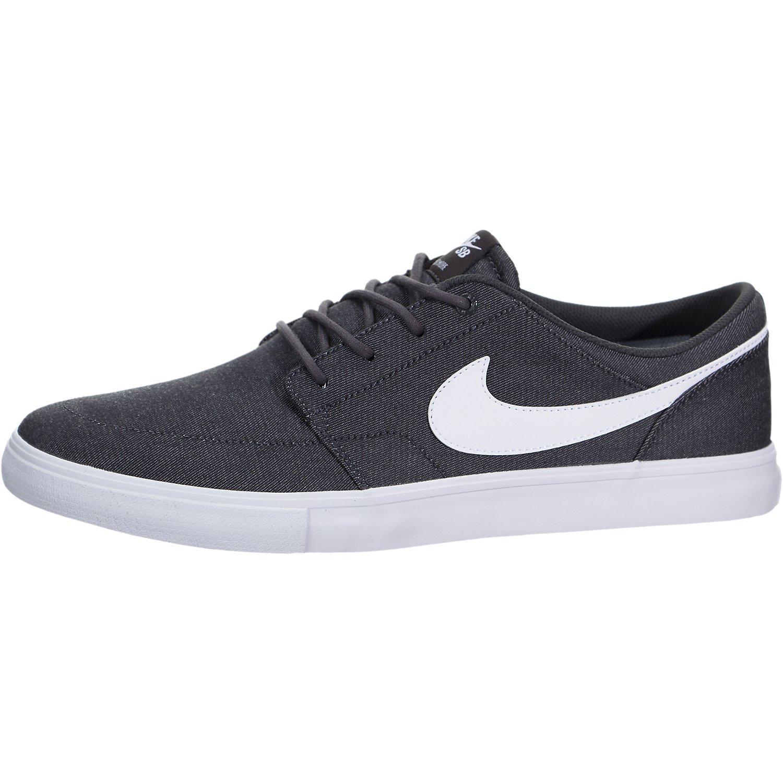 Nike 880269-011: Men's Grey/White SB Solarsoft Portmore II Sneakers (9.5 D(M) US Men)