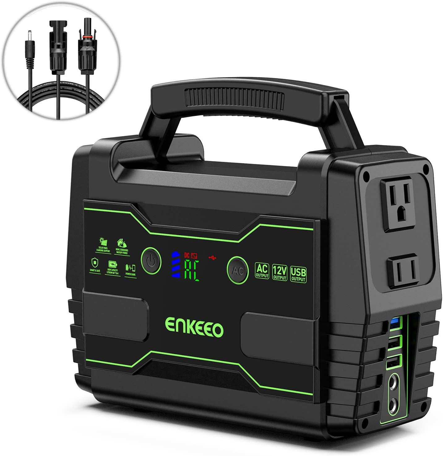 ENKEEO Portable Power Station, 155Wh Lithium Backup Battery Pack 110V 100W Solar Generator Solar Panel Optional with AC Outlet USB DC Supply for Outdoors Camping Travel Fishing Hunting Emergency