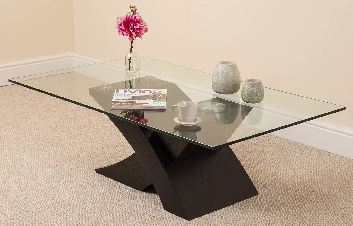 milano x glass u0026 wood coffee table black 135 w x 80 d x 45 h cm