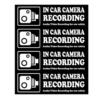 Camera Audio Video Recording Window Cars Stickers – 4 Signs Removable Reusable Indoor Dashcam in Use Vehicles Warning Decals Labels Bumpers Static Cling Accessories for Rideshare Taxi Drivers (White): Automotive