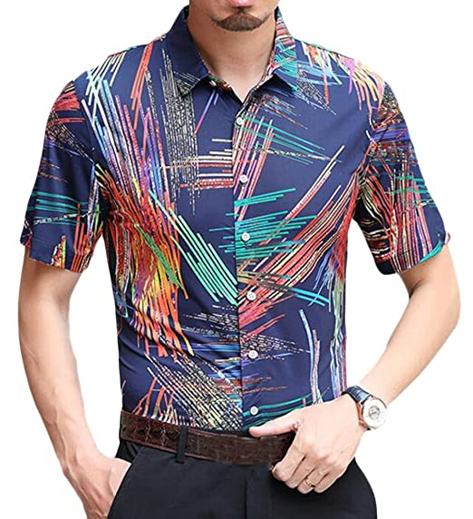 a8295f4ed89 Fubotevic Men s Plus Size Short Sleeve Floral Print Stripe Contrast Color  Summer Slim Fit Dress Shirts