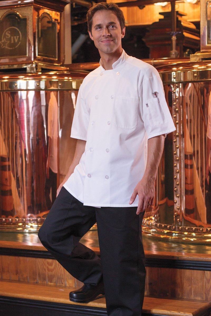 Uncommon Threads Unisex Delray Chef Coat with Mesh Short Sleeve 5.25, White, Medium