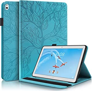 TIPOYOROO Case Compatible for Lenovo Tab M10 HD 10.1 inch Case TB-X505L/X505F, TB-X605L/X605F, Cover Flip Wallet Folio Stand Shell with Card Slots Pen Holder, for Lenovo Tab M10 10.1-Turquoise