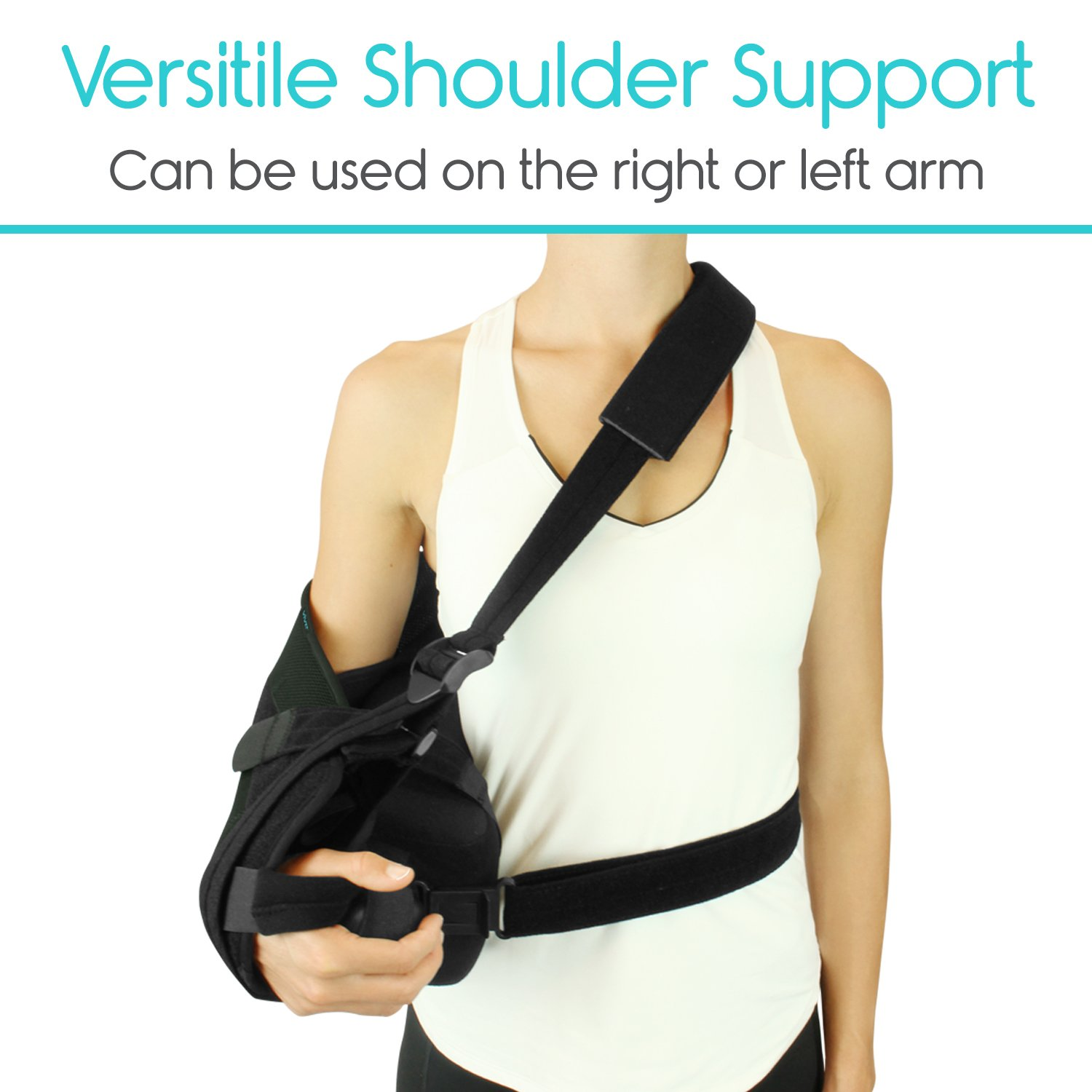Vive Shoulder Sling - Abduction Immobilizer for Injury Support - Pain Relief Arm Pillow for Rotator Cuff, Sublexion, Surgery, Dislocated, Broken Arm - Brace Includes Pocket Strap, Stress Ball, Wedge by VIVE (Image #7)