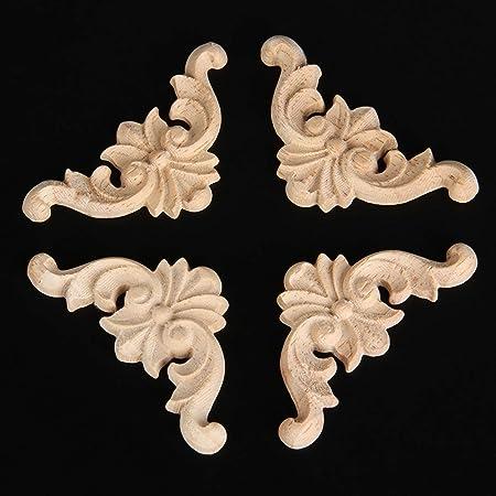 Bois sculpt/é dangle Grand format Applique style europ/éen Porte meubles Cabinet mural de d/écoration Art brut Naturel Cadre Applique 16*3cm marron