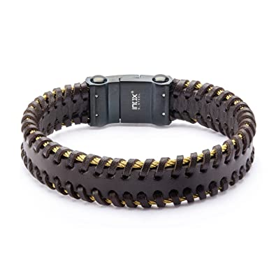 b7608451693a0 Amazon.com: INOX Men's Brown Leather in Stainless Steel Gold IP ...