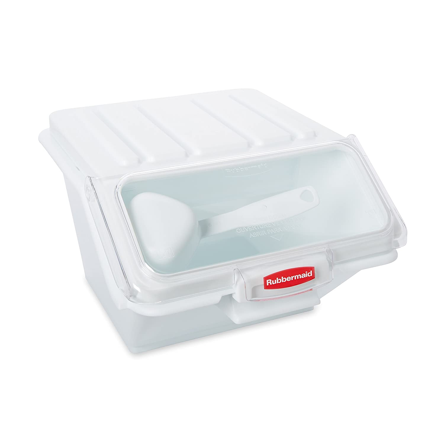 Rubbermaid Commercial ProSave Shelf-Storage Ingredient Bin with Scoop, Plastic, Stackable, 40-Cup Capacity, White, FG9G6000WHT