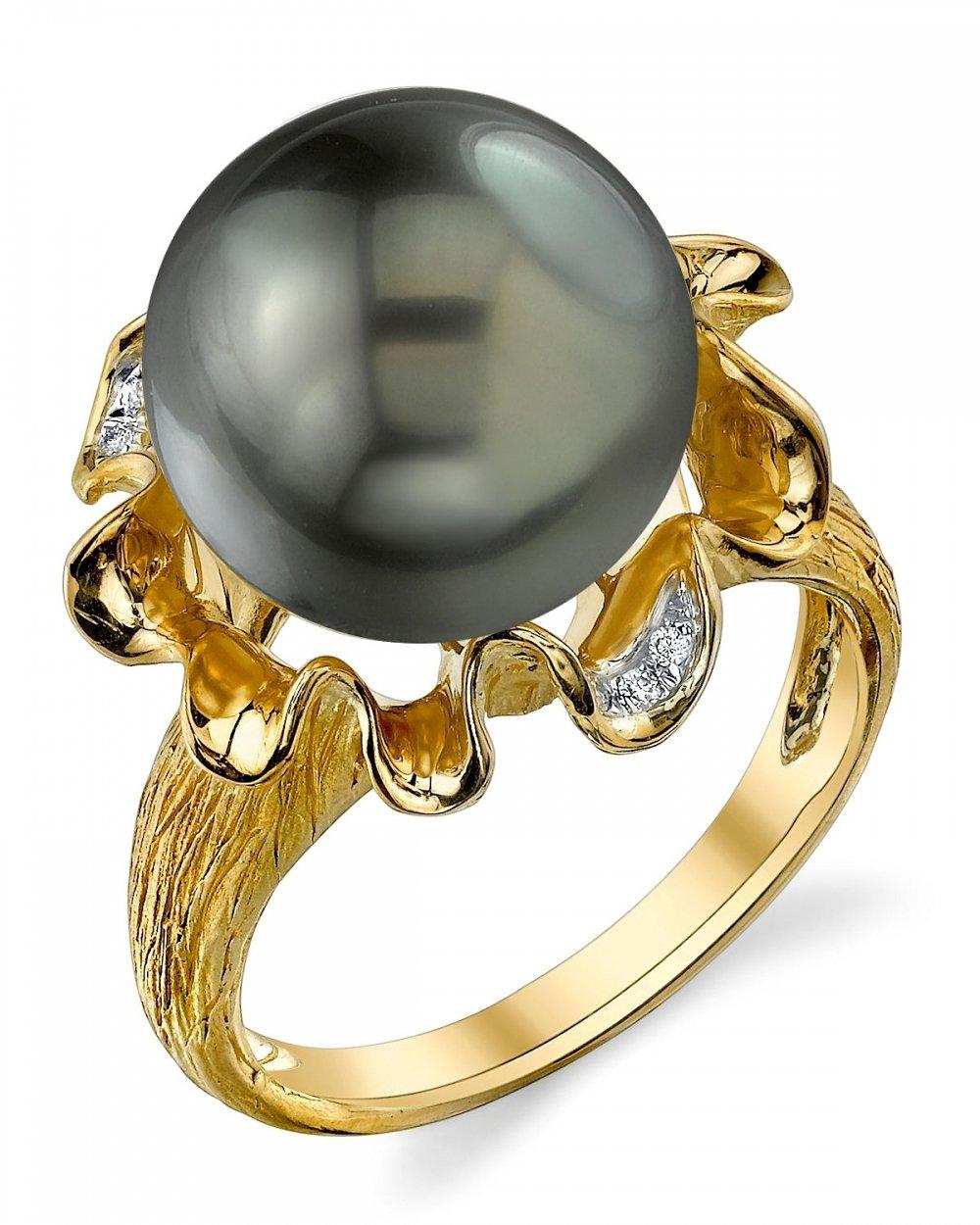 12mm Tahitian South Sea Cultured Pearl & Diamond Robin Ring in 14K Gold