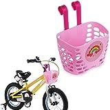 Mini-Factory 儿童自行车篮,可爱卡通图案自行车车把篮适合女孩 粉色