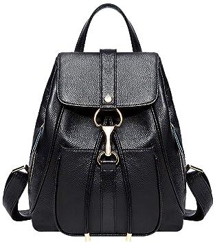 9d704f207bd3 Amazon.com  BOYATU Real Leather Backpacks Purse for Women Ladies Fashion  Travel Shoulder Bag (Black1)  Boyatu
