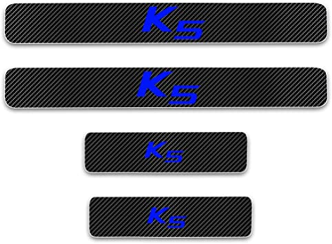 for Kia Soul Door Sill Protector Reflective 4D Carbon Fiber Sticker Door Entry Guard Door Sill Scuff Plate Stickers Auto Accessories 4Pcs White