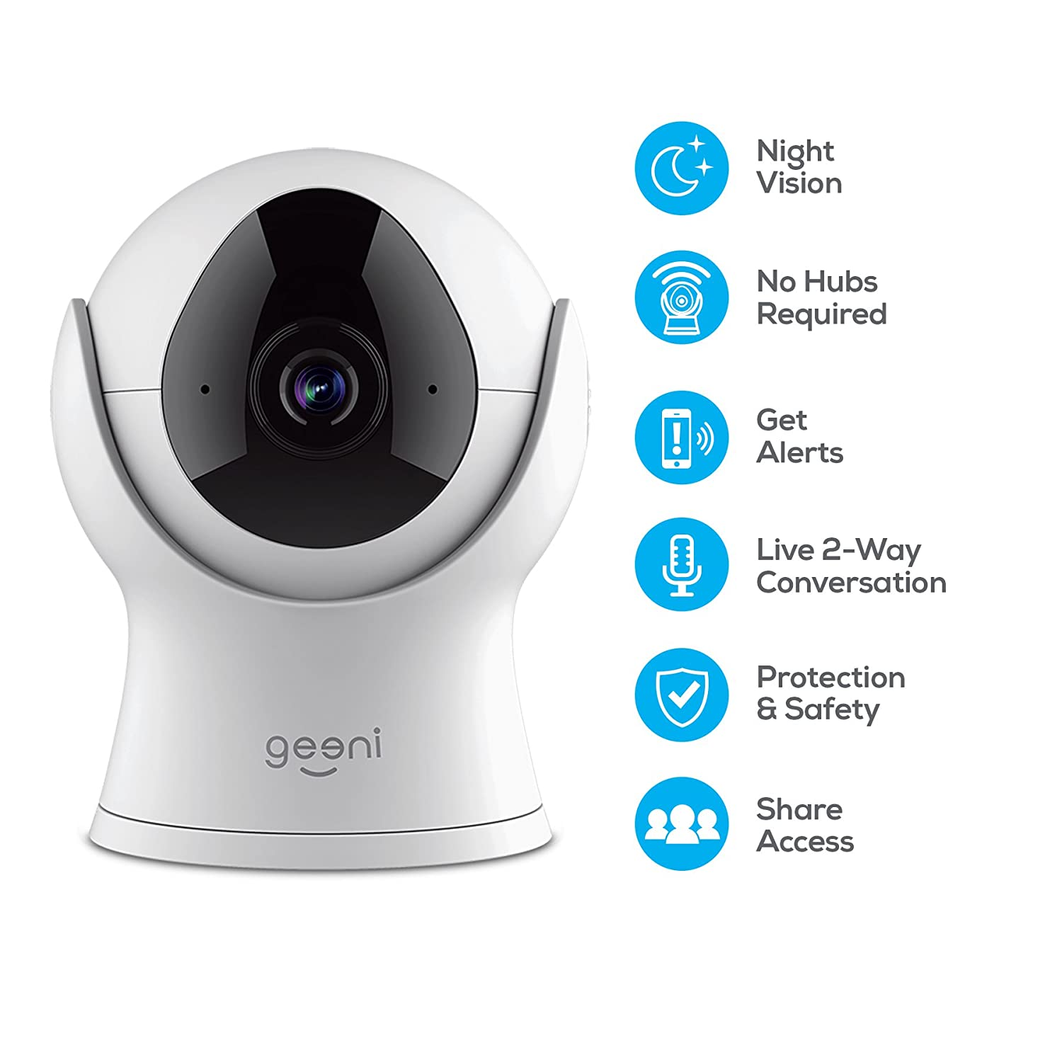 Geeni VISION 720P Smart Wi-Fi Camera Home Security System, No Hub Required,  White