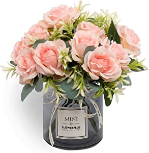 Artificial Roses Bouquet, Ins-Style Artificial Flower and vase Set, Suitable for Living Room, Dining Table, Office, Wedding, Hotel Banquet Home Decoration. (Pink)