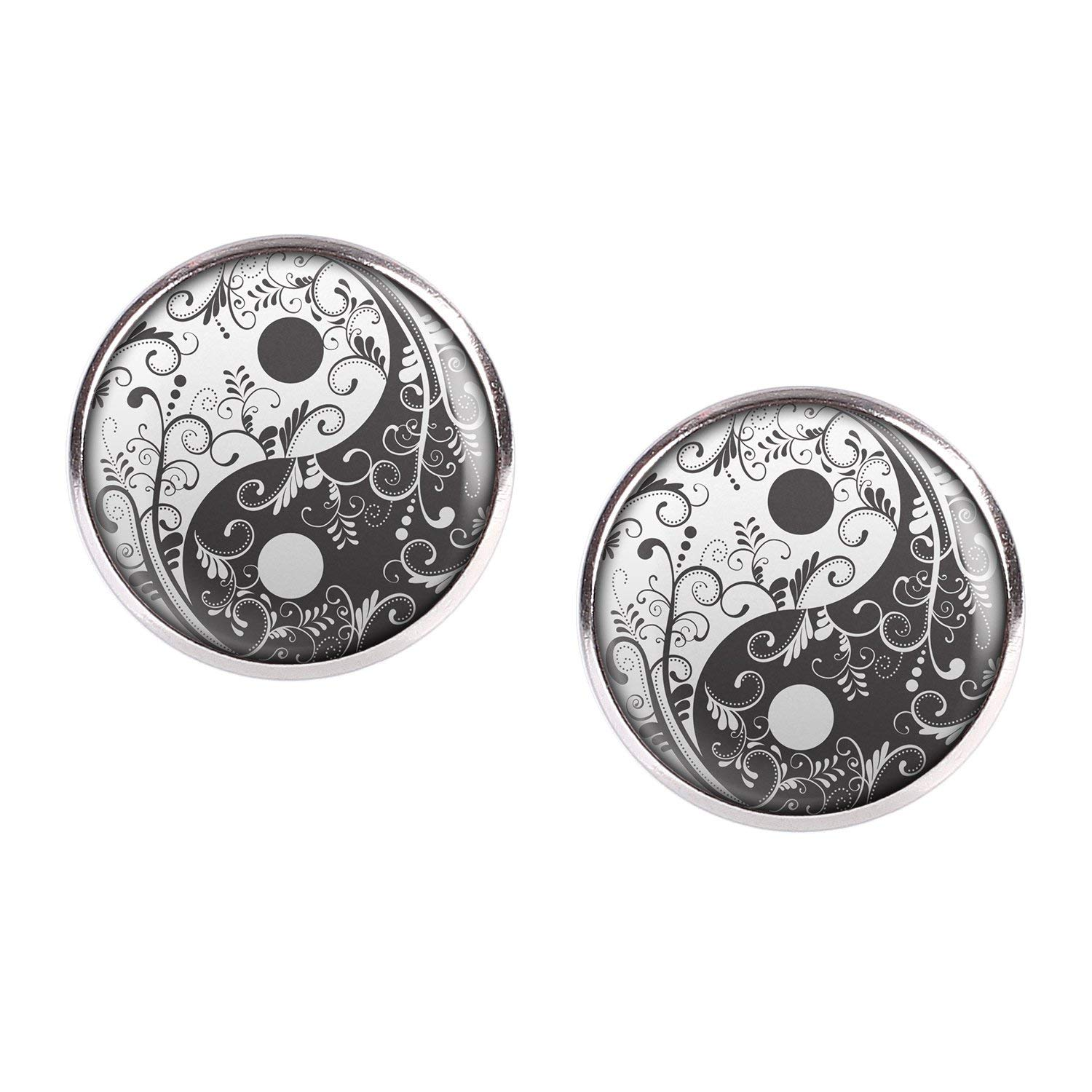 Stud Earring Pair with Cabochon Picture Yin Yang black and white flowers silver different sizes