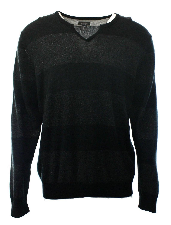 Kenneth Cole Reaction Black-Dark Grey Striped New Men's Split Neck Sweater (S)