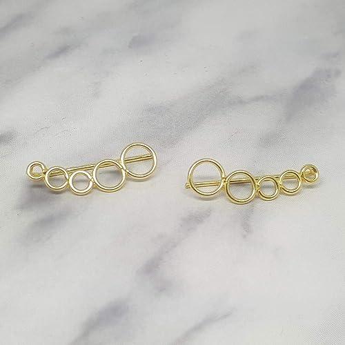 nueva lanzamiento estilo de moda colores armoniosos Pendientes trepadores circulos plata de ley con baño oro ...