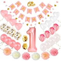 1st Birthday Girl Decorations | Baby Girl First Birthday Decorations Set | Pink and Gold First Birthday Decorations Girl Pink # 1 Balloon Pom Poms Birthday Banners Balloons Heart Garland