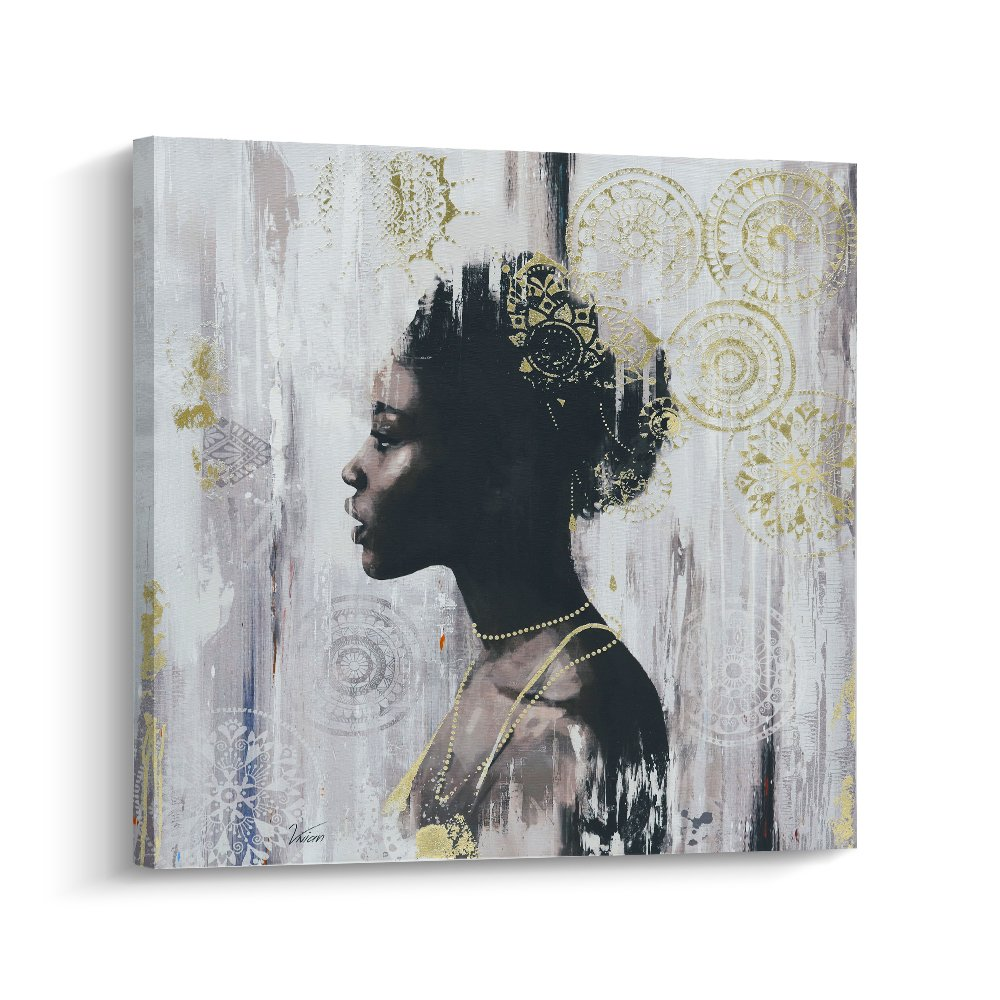 Pi Art African American Black Art Canvas Art, Gold Wall Decor Framed Wall Art for Living Room and Bedroom (24x24 inch, B)