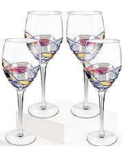 Juego de 4 copas de vino Culinaire de 600 ml pintadas a mano, ideal para