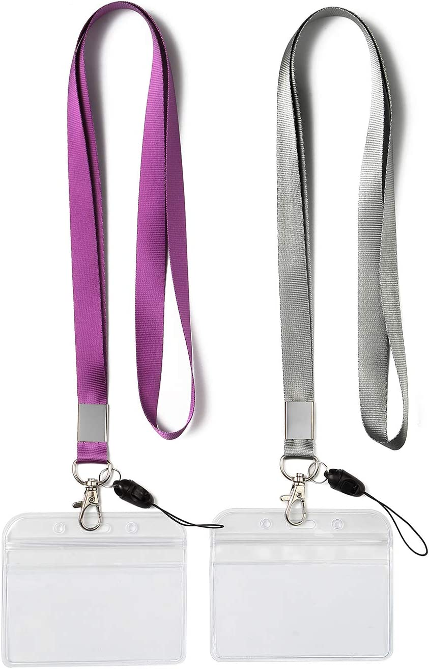 2 Pack ID Badge Holders with Purple Lanyards Office Neck Strings/Strap Grey Lanyard with Horizontal Heavy Duty id Holder PVC Name Tag Card Holder Punched Zipper Waterproof Resealable Clear Plastic