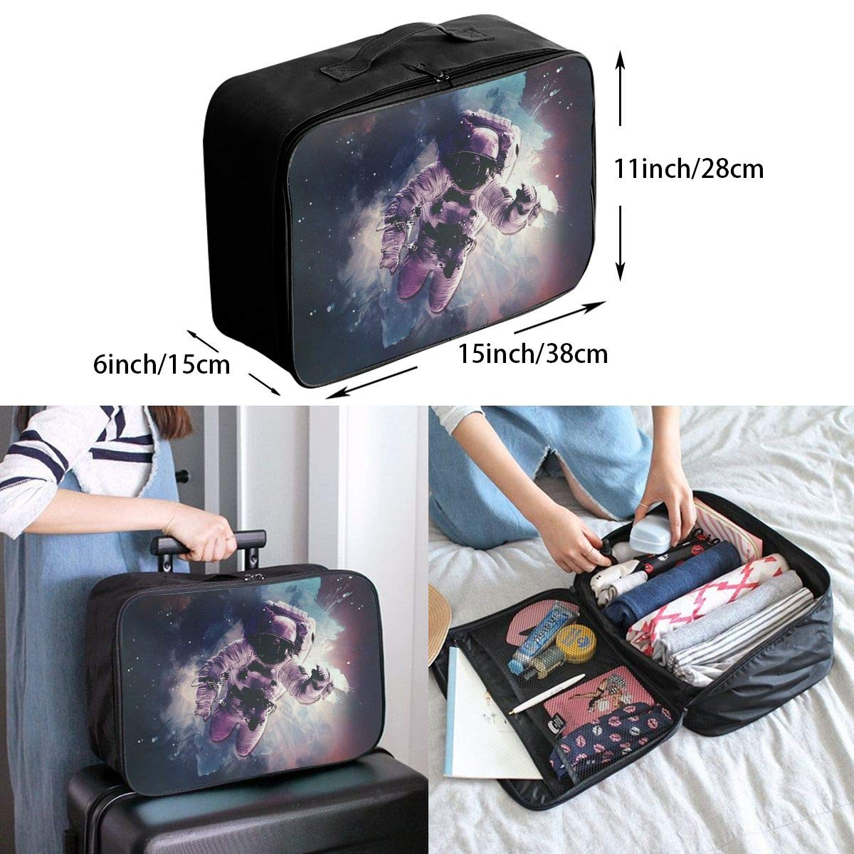 Travel Luggage Duffle Bag Lightweight Portable Handbag Fantasy Astronaut Pattern Large Capacity Waterproof Foldable Storage Tote