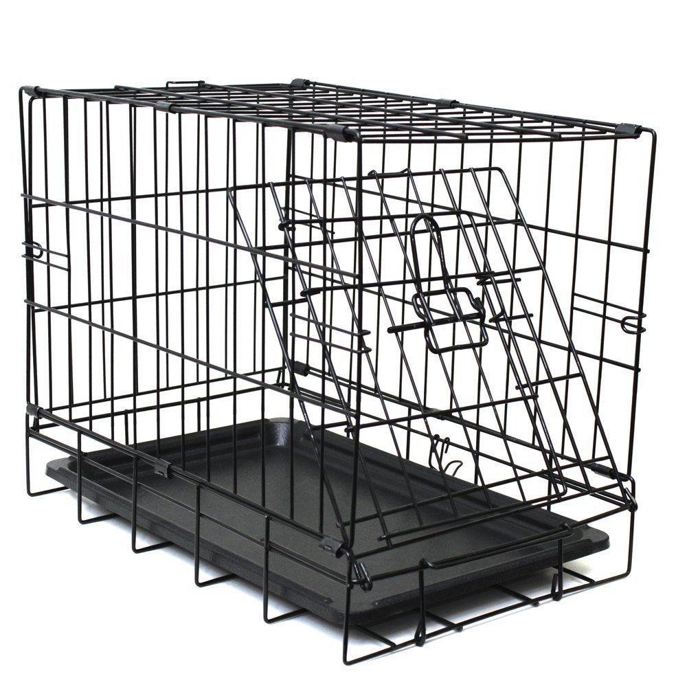 Dog Crate Double Door Folding Metal Wire Cage W Divider