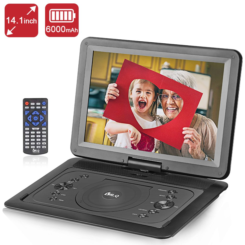 DR.Q 14.1 Inch Portable DVD Player with 6000mAh Rechargeable Battery, 270 Degree HD Swivel Screen, Remote Control, 5.9ft Car Charger, SD Card Slot, USB Port and Multiple Disc Formats Supported-Black