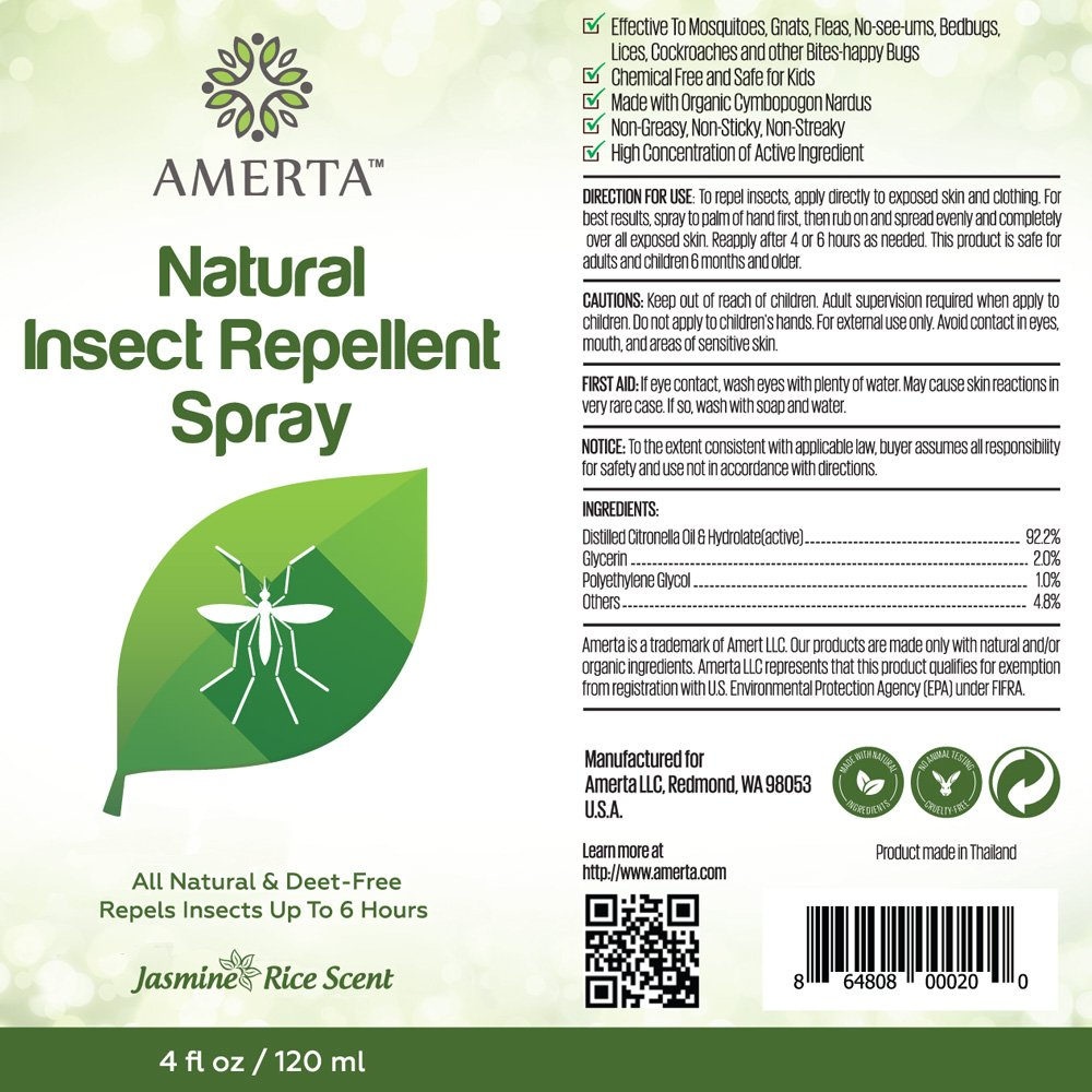 Amazon.com : AMERTA All Natural Insect Repellent Spray - DEET FREE ...