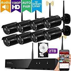 xmartO 8CH 1080p HD Outdoor Wireless Surveillance Camera System with 8x 1080p HD Wireless Security Cameras and 2TB Hard Drive