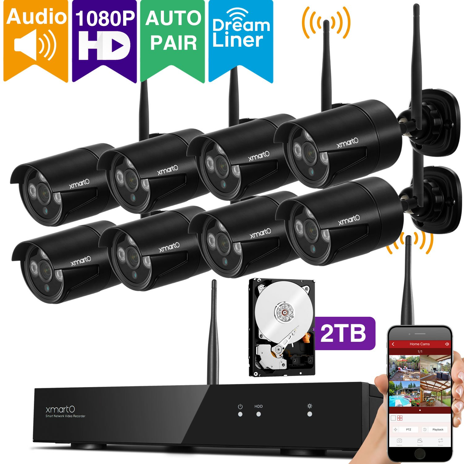 [Audio & Video] xmartO 8CH 1080p HD Outdoor Wireless Surveillance Camera System with 8x 1080p HD Wireless Security Cameras and 2TB Hard Drive, Dream Liner WiFi Relay, Auto-Pair, 80ft Night Vision