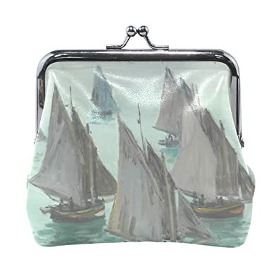 Amazon.com: ahomy mar velero Monet Art Monederos Vintage ...