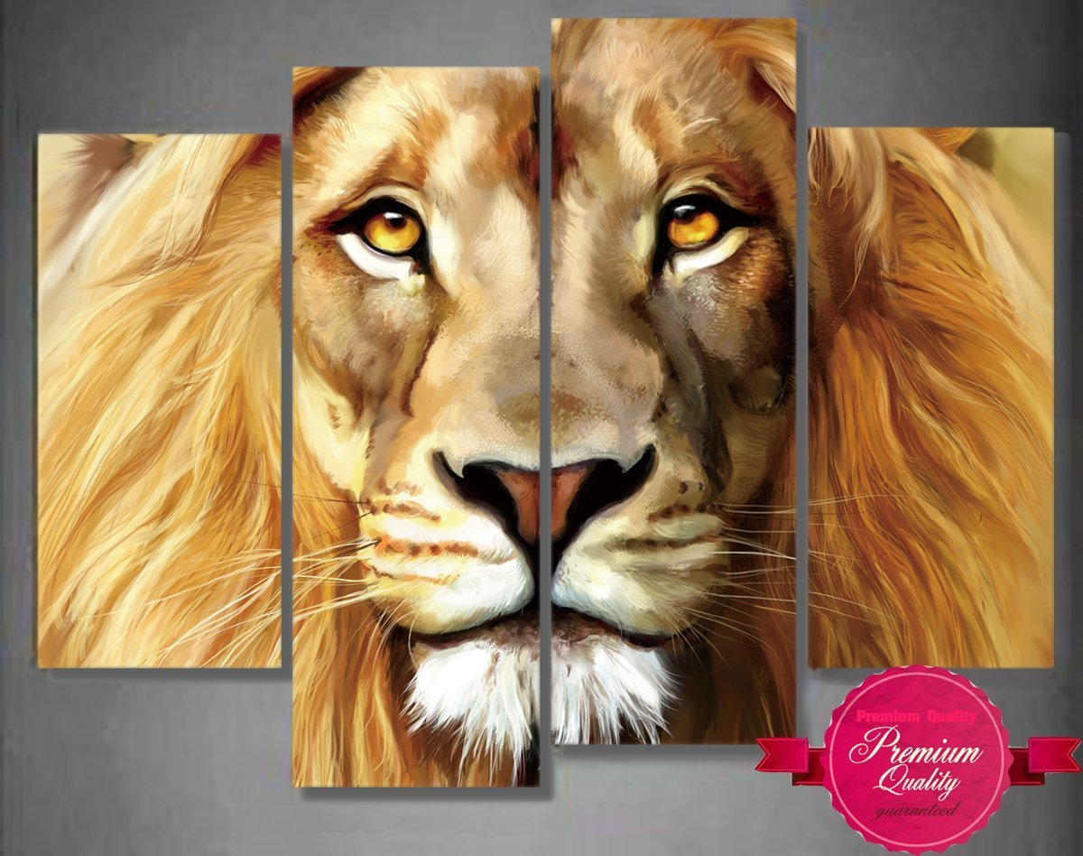 Nuolanart- 4 Panels Large Size Cool Lion Face Canvas Wall Art - Stretched Ready to Hang High Quality Oil Painting Print Modern Art for Decoration -P4S004