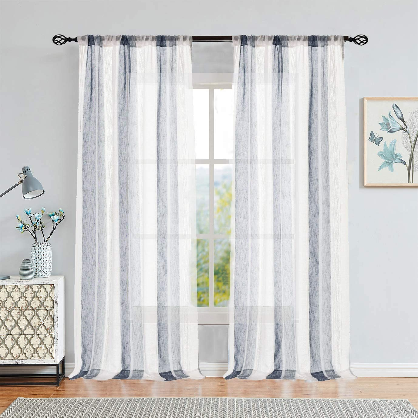 Central Park Sheer Navy Blue And White Stripe Farmhouse Curtains Boucle Linen Window Curtain Panel Pairs Yarn Dyed Woven 84 Inches Long For Living Room Bedroom 2 Pack Rod Pocket Rustic Living