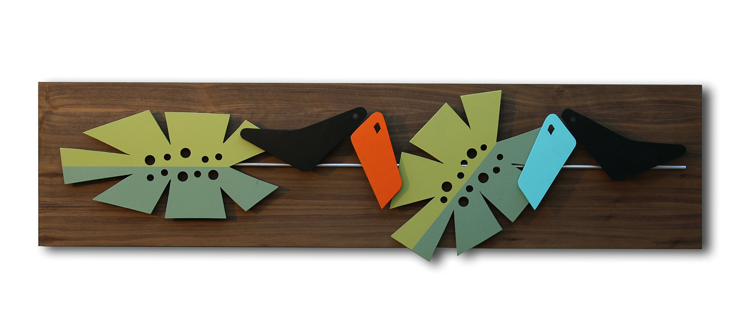 Mid Century Modern Wall Art: IN THE JUNGLE - Painting, Hanging Sculpture - Abstract Wood and Metal Artwork in 3D
