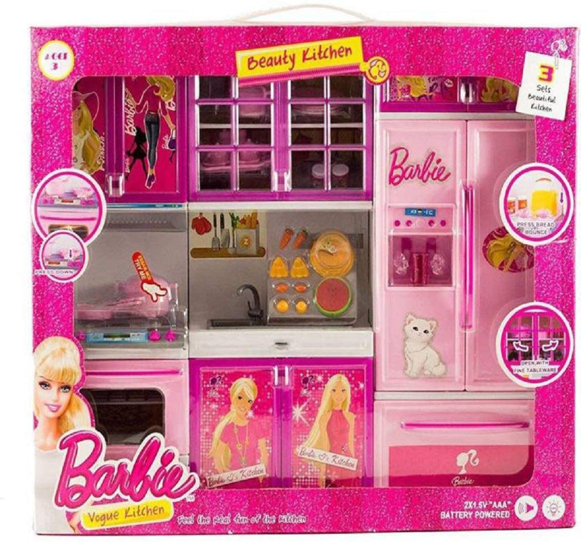 Buy best kitchen set gift for girls light music battery operated luxury barbie beauty vogue kitchen play set pink online at low prices in india amazon