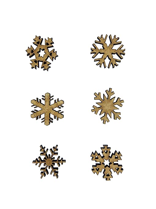The Crafty Cow 20x Mixed Snowflakes Christmas 2cm Wood Craft Embelishments Laser Cut Shape MDF