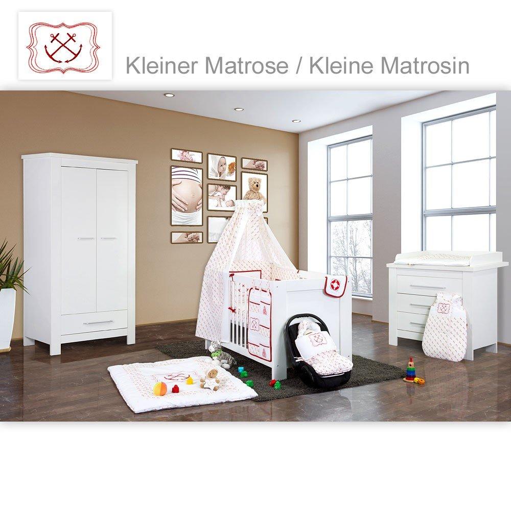 Babyzimmer Enni in weiss 21 tlg. mit 2 türigem Kl. + Kleine Matrosin, Rot