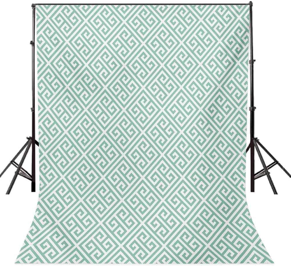Greek Key 10x15 FT Photo Backdrops,Antique Labyrinth Motifs in Checkered Tile Composition Green and White Background for Baby Birthday Party Wedding Vinyl Studio Props Photography Mint Green White