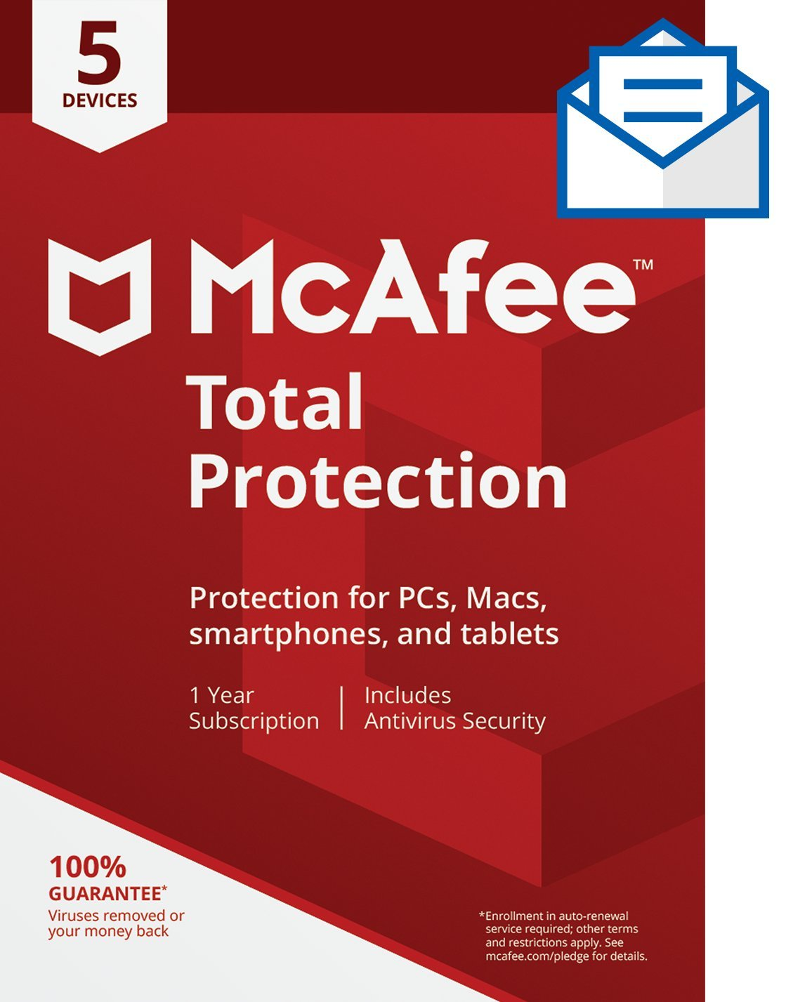 McAfee Total Protection Antivirus  Internet Security  5 Device  1 Year Subscription  Activation Code by Mail  2019 Ready