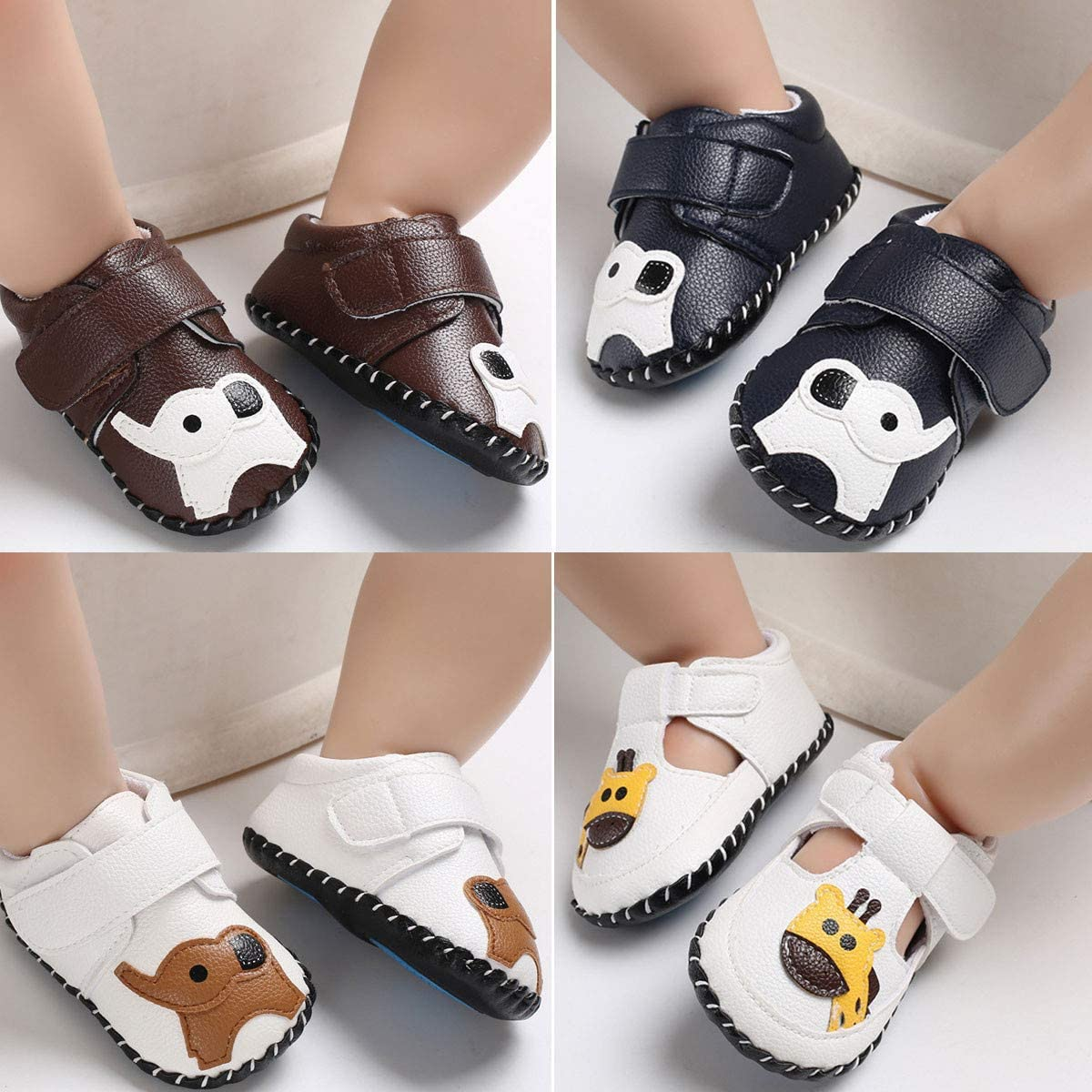 3-18 Months TIMATEGO Infant Baby Boys Girls Sneaker PU Leather Hard Bottom Non Slip Walking Shoes Cartoon Slippers Toddler First Walker Crib Shoes