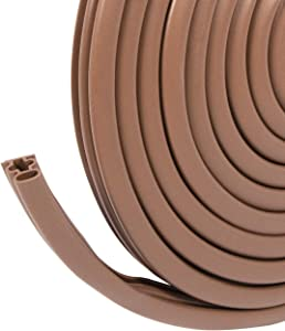 fowong Weather Stripping for Door and Window, 3/8 Inch Wide X 1/4 Inch Thick Silicone Rubber Door Seal Gap Blocker Window Insulation Strip (Brown)