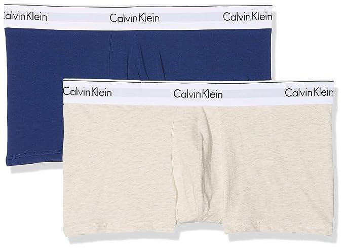 Calvin Klein Trunk 2pk, Bóxer para Hombre, Azul (Dark Night/Oatmeal Heather
